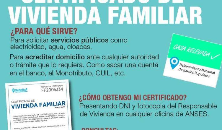Certificado de vivienda familiar